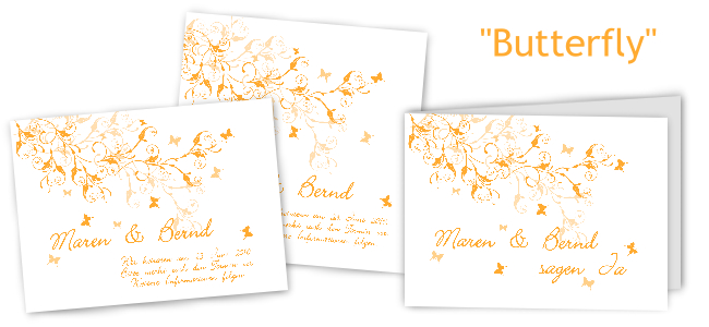 Einladungskarten Hochzeit Schmetterling