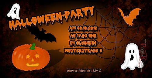 Einladung zur Halloween-Party für Erwachsene und Kinder. Einarbeitung ...